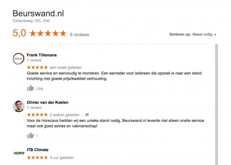 Google Reviews Beurswand.nl